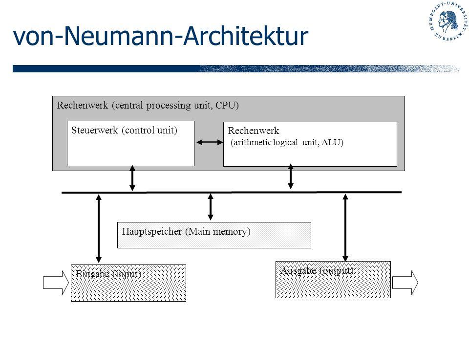von-Neumann-Architektur Rechenwerk (central processing unit, CPU) Steuerwerk (control unit) Rechenwerk (arithmetic logical unit, ALU) Hauptspeicher (M