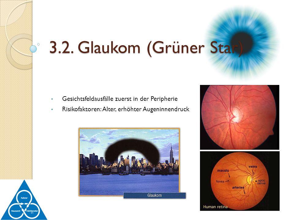 Gesichtsfeldausfälle zuerst in der Peripherie Risikofaktoren: Alter, erhöhter Augeninnendruck 3.2. Glaukom (Grüner Star)