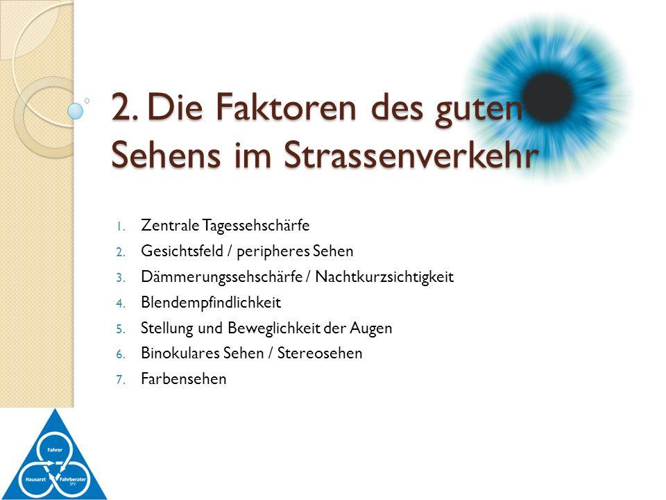 1. Zentrale Tagessehschärfe 2. Gesichtsfeld / peripheres Sehen 3. Dämmerungssehschärfe / Nachtkurzsichtigkeit 4. Blendempfindlichkeit 5. Stellung und