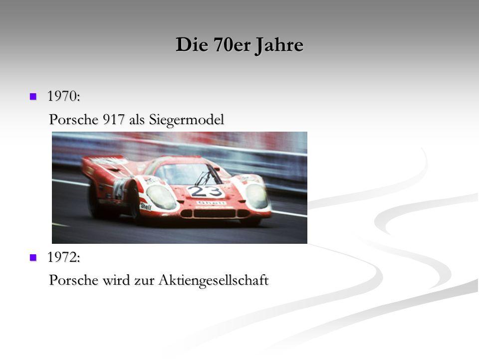 Die 80er Jahre 1982: 1982: Rennsportwagen Porsche 956 Rennsportwagen Porsche 956 1985: 1985: Präsentation des Porsche 959 Präsentation des Porsche 959