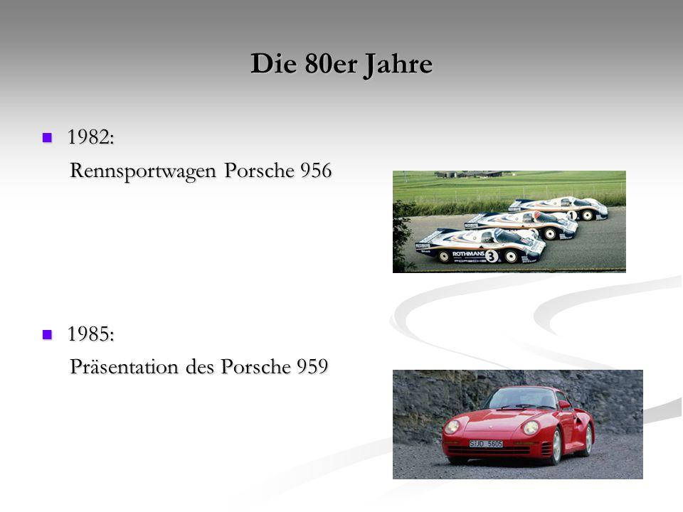 Die 90er Jahre 1996: 1996: Produktionsstart Porsche Boxster nach nur dreieinhalb Jahren Entwicklungszeit Produktionsstart Porsche Boxster nach nur dreieinhalb Jahren Entwicklungszeit 1997: 1997: Präsentation des neuen Porsche 911 mit wassergekühltem Sechszylinder-Boxermotor.