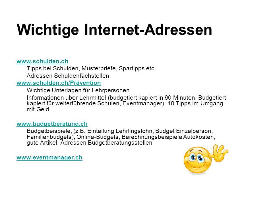 Wichtige Internet-Adressen www.schulden.ch Tipps bei Schulden, Musterbriefe, Spartipps etc. Adressen Schuldenfachstellen www.schulden.ch/Prävention Wi