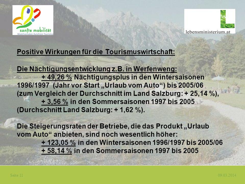 Seite 11 09.03.2014 Positive Wirkungen für die Tourismuswirtschaft: Die Nächtigungsentwicklung z.B. in Werfenweng: + 49,26 % Nächtigungsplus in den Wi