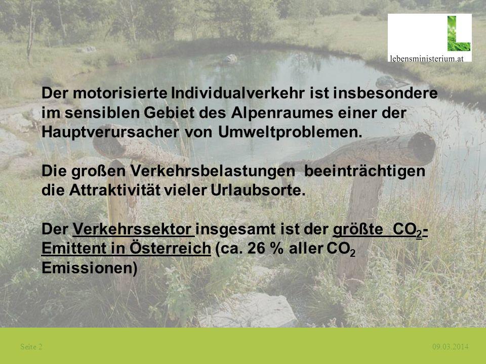 Seite 2 09.03.2014 Der motorisierte Individualverkehr ist insbesondere im sensiblen Gebiet des Alpenraumes einer der Hauptverursacher von Umweltproble