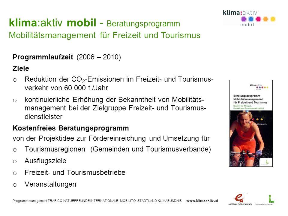Programmmanagement TRAFICO-NATURFREUNDE INTERNATIONALE- MOBILITO -STADTLAND-KLIMABÜNDNIS www.klimaaktiv.at Programmlaufzeit (2006 – 2010) Ziele o Redu
