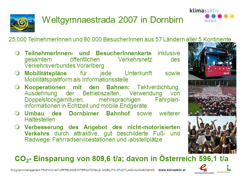 Programmmanagement TRAFICO-NATURFREUNDE INTERNATIONALE- MOBILITO -STADTLAND-KLIMABÜNDNIS www.klimaaktiv.at Weltgymnaestrada 2007 in Dornbirn Teilnehme