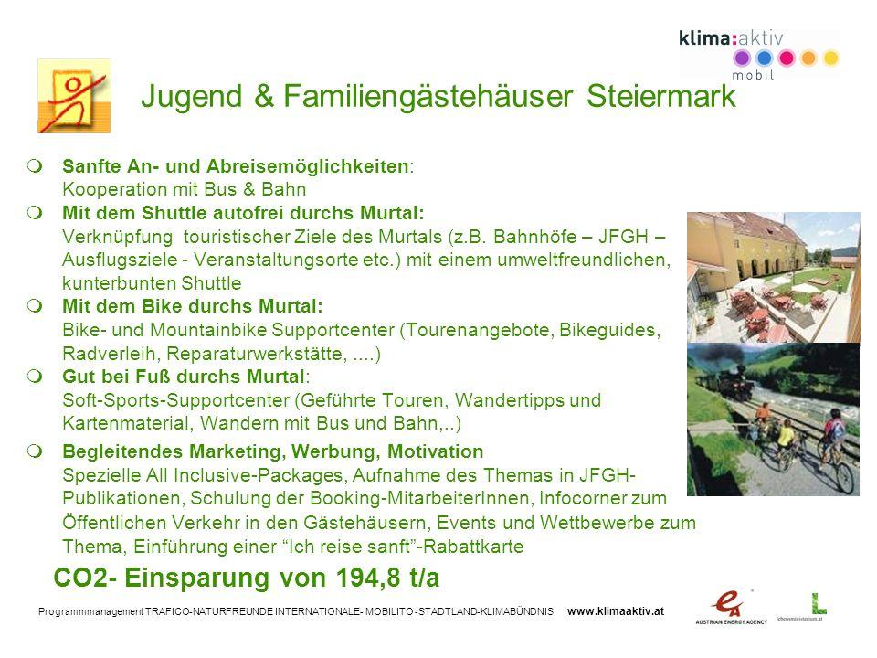 Programmmanagement TRAFICO-NATURFREUNDE INTERNATIONALE- MOBILITO -STADTLAND-KLIMABÜNDNIS www.klimaaktiv.at Jugend & Familiengästehäuser Steiermark San