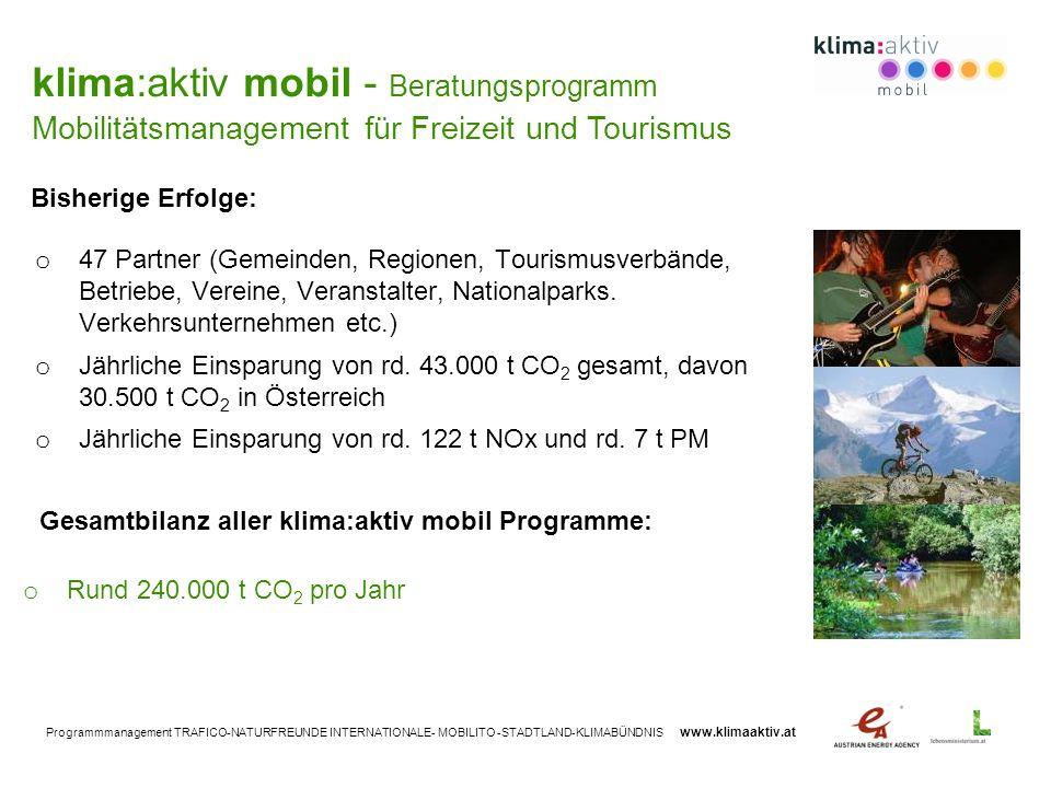 Programmmanagement TRAFICO-NATURFREUNDE INTERNATIONALE- MOBILITO -STADTLAND-KLIMABÜNDNIS www.klimaaktiv.at o 47 Partner (Gemeinden, Regionen, Tourismu