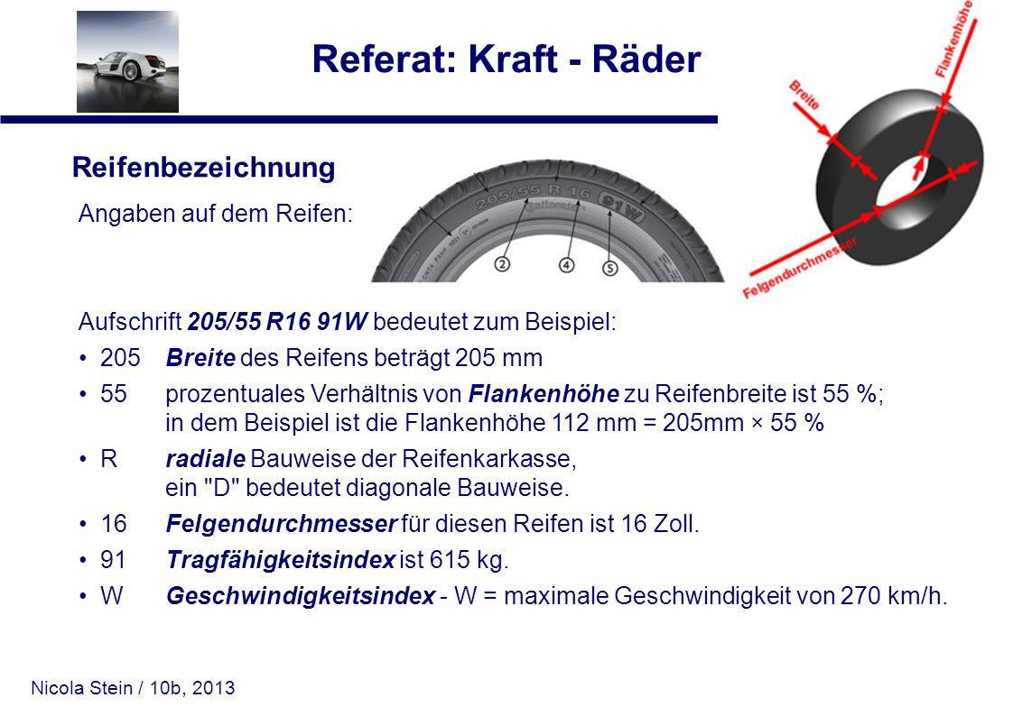 Nicola Stein / 10b, 2013 Referat: Kraft - Räder Reifenbezeichnung Angaben auf dem Reifen: Aufschrift 205/55 R16 91W bedeutet zum Beispiel: 205 Breite