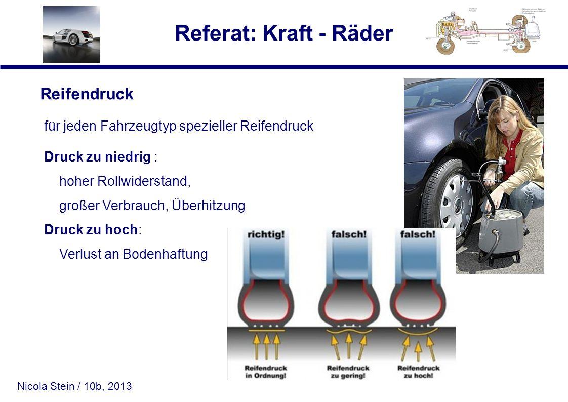 Nicola Stein / 10b, 2013 Referat: Kraft - Räder Reifendruck für jeden Fahrzeugtyp spezieller Reifendruck Druck zu niedrig : hoher Rollwiderstand, groß