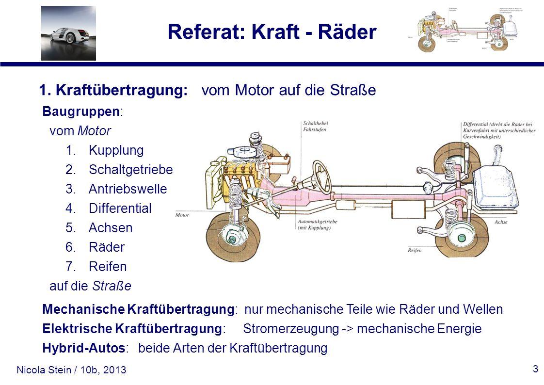 Nicola Stein / 10b, 2013 Referat: Kraft - Räder 3 1. Kraftübertragung: vom Motor auf die Straße Baugruppen: vom Motor 1.Kupplung 2.Schaltgetriebe 3.An
