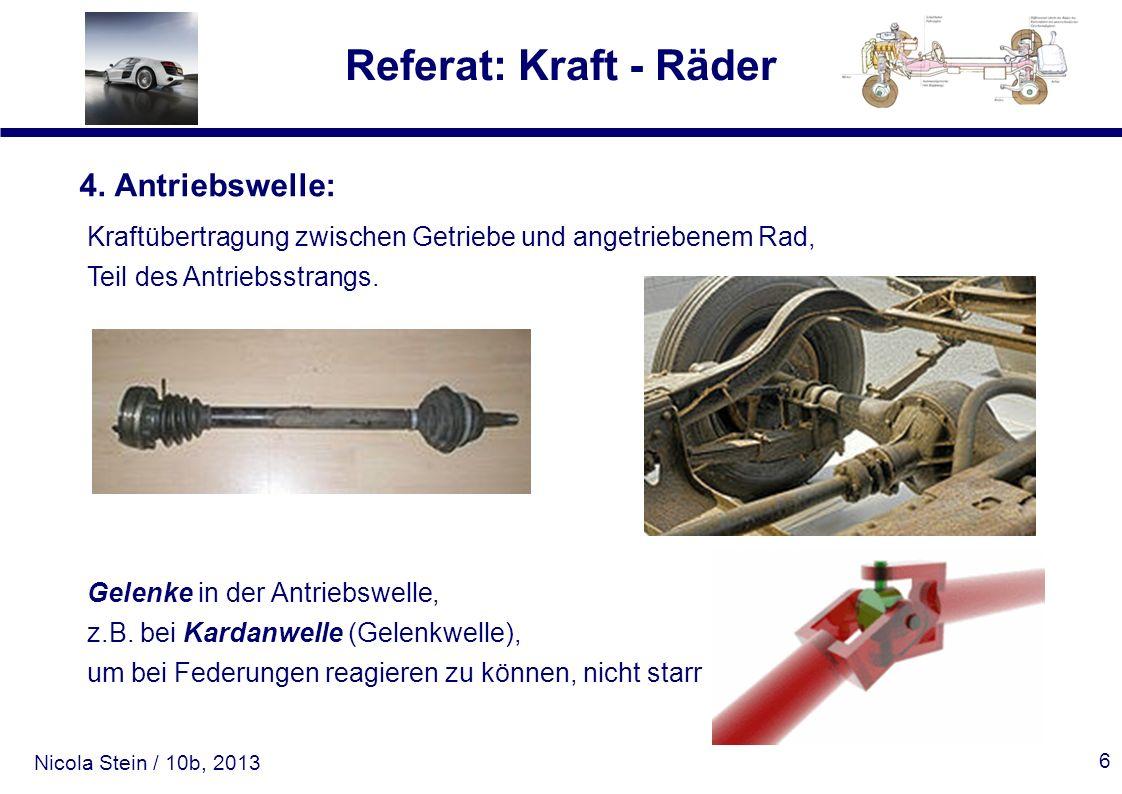 Nicola Stein / 10b, 2013 Referat: Kraft - Räder 6 4. Antriebswelle: Kraftübertragung zwischen Getriebe und angetriebenem Rad, Teil des Antriebsstrangs