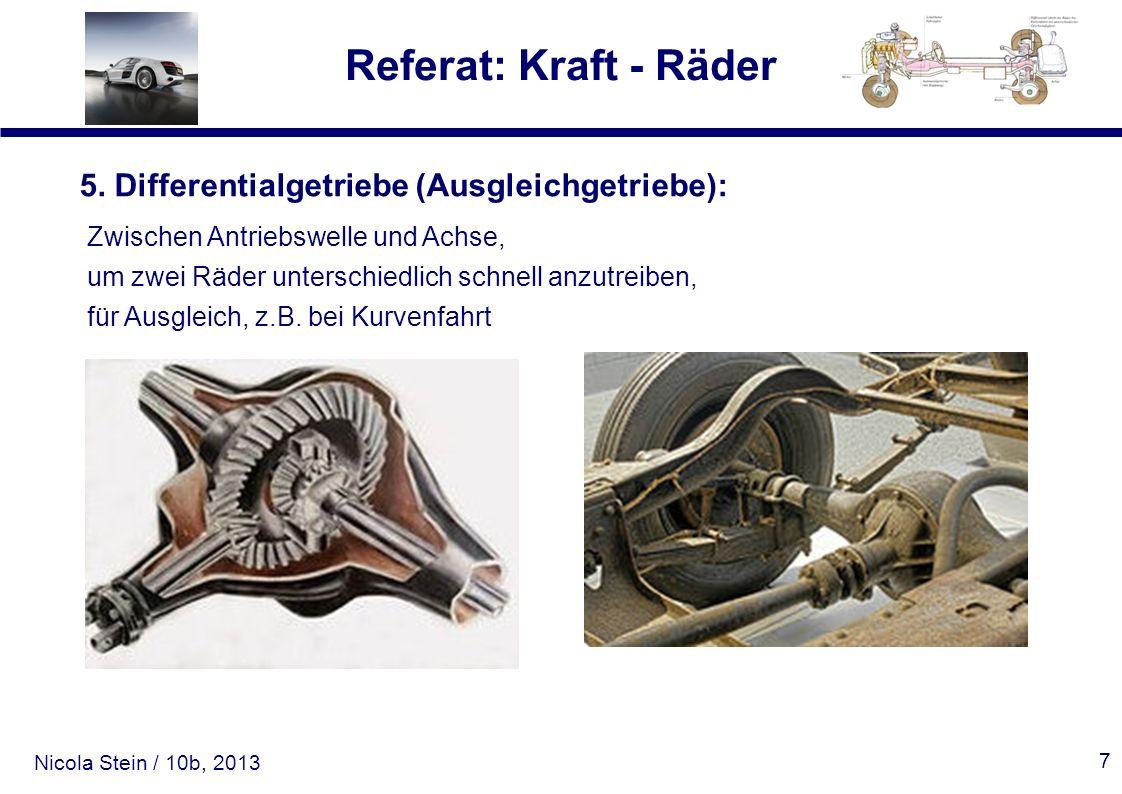 Nicola Stein / 10b, 2013 Referat: Kraft - Räder 7 5. Differentialgetriebe (Ausgleichgetriebe): Zwischen Antriebswelle und Achse, um zwei Räder untersc