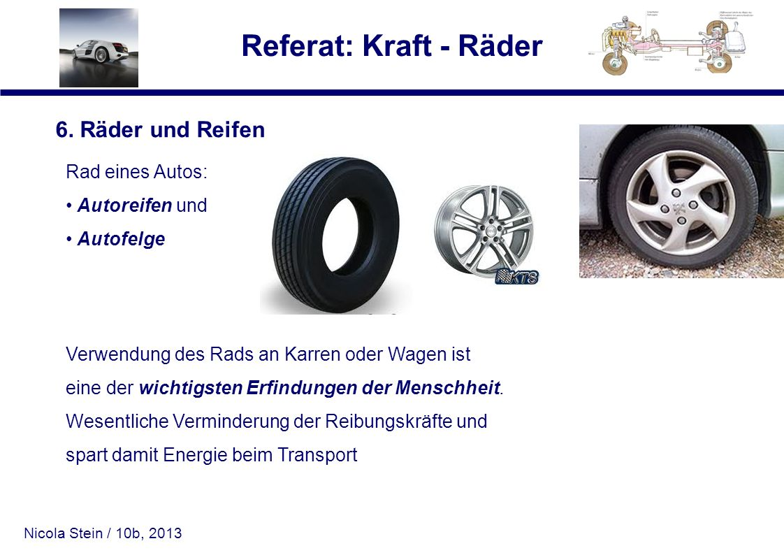 Nicola Stein / 10b, 2013 Referat: Kraft - Räder 6. Räder und Reifen Rad eines Autos: Autoreifen und Autofelge Verwendung des Rads an Karren oder Wagen