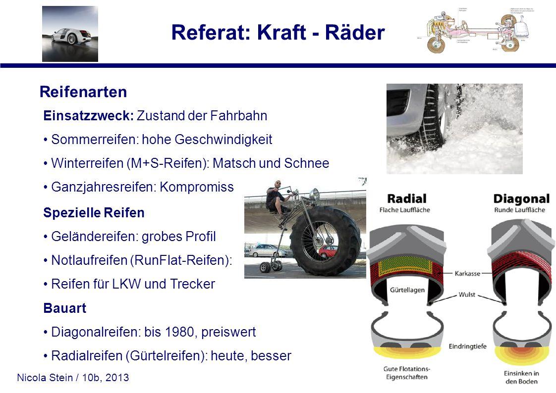 Nicola Stein / 10b, 2013 Referat: Kraft - Räder Reifenarten Einsatzzweck: Zustand der Fahrbahn Sommerreifen: hohe Geschwindigkeit Winterreifen (M+S-Re