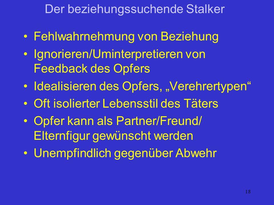 18 Der beziehungssuchende Stalker Fehlwahrnehmung von Beziehung Ignorieren/Uminterpretieren von Feedback des Opfers Idealisieren des Opfers, Verehrert