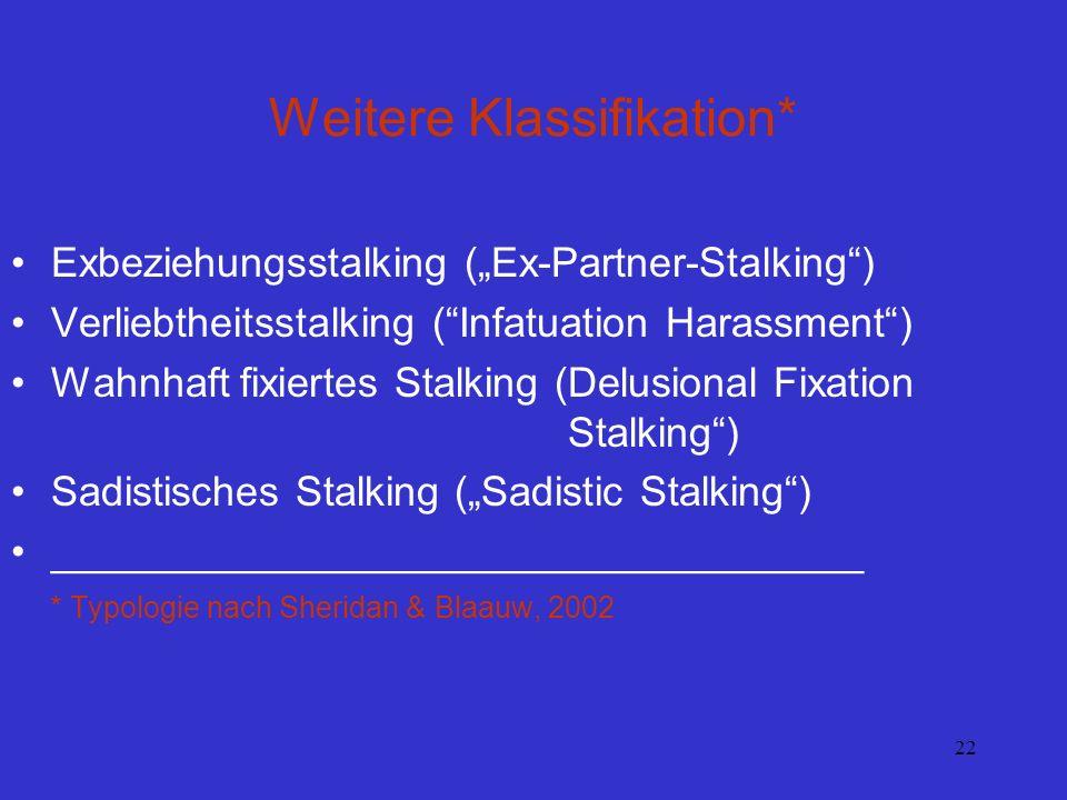 22 Weitere Klassifikation* Exbeziehungsstalking (Ex-Partner-Stalking) Verliebtheitsstalking (Infatuation Harassment) Wahnhaft fixiertes Stalking (Delu