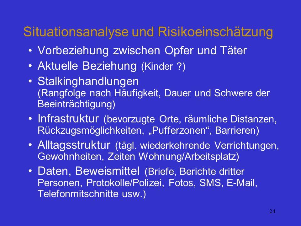 24 Situationsanalyse und Risikoeinschätzung Vorbeziehung zwischen Opfer und Täter Aktuelle Beziehung (Kinder ?) Stalkinghandlungen (Rangfolge nach Häu