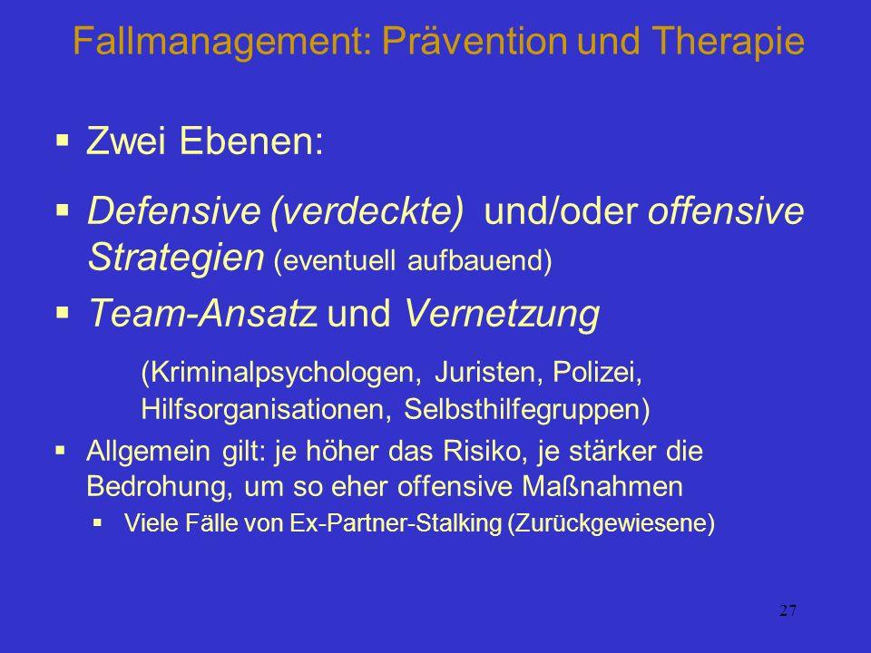 27 Fallmanagement: Prävention und Therapie Zwei Ebenen: Defensive (verdeckte) und/oder offensive Strategien (eventuell aufbauend) Team-Ansatz und Vern