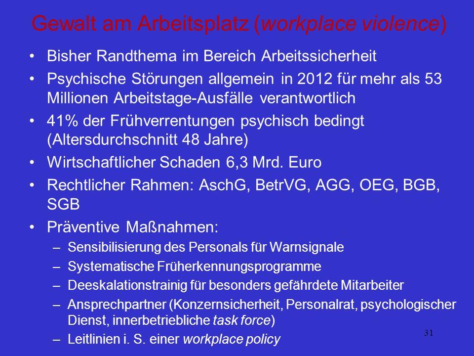31 Gewalt am Arbeitsplatz (workplace violence) Bisher Randthema im Bereich Arbeitssicherheit Psychische Störungen allgemein in 2012 für mehr als 53 Mi