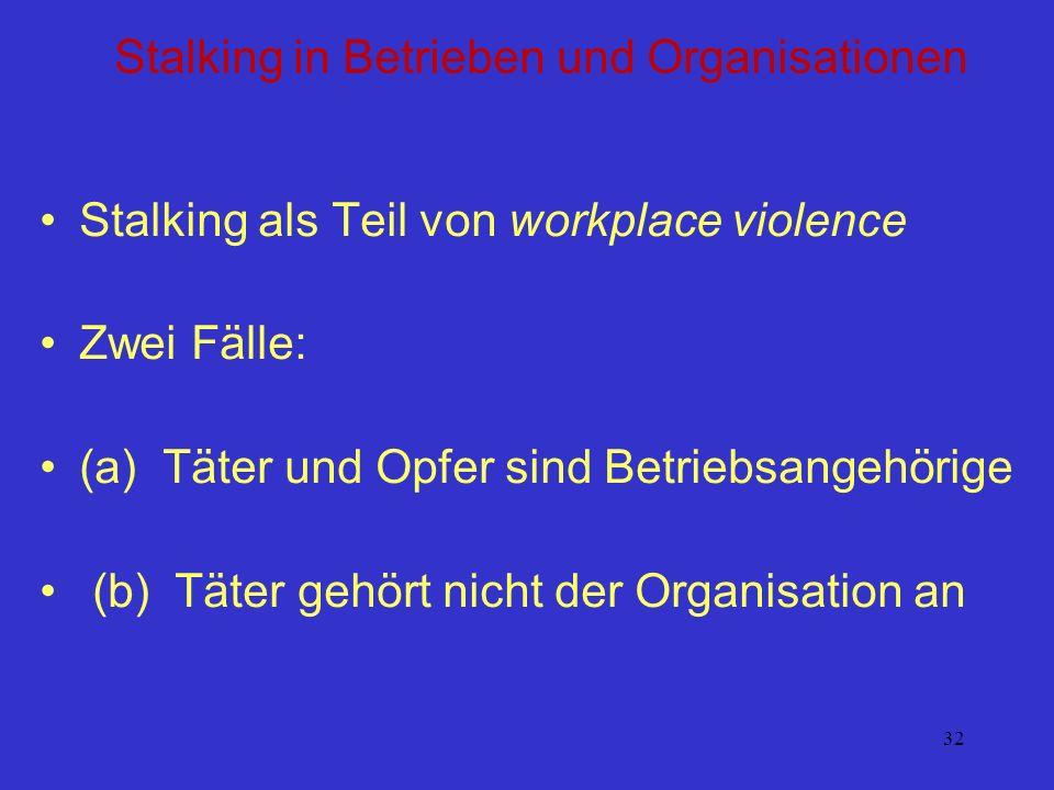 32 Stalking in Betrieben und Organisationen Stalking als Teil von workplace violence Zwei Fälle: (a) Täter und Opfer sind Betriebsangehörige (b) Täter