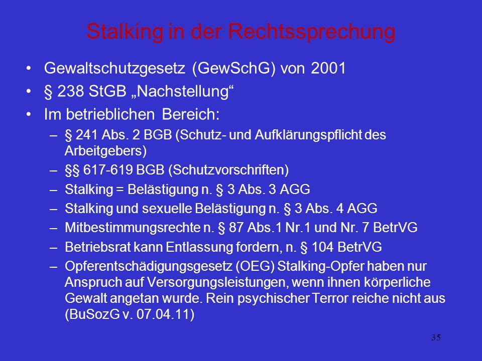35 Stalking in der Rechtssprechung Gewaltschutzgesetz (GewSchG) von 2001 § 238 StGB Nachstellung Im betrieblichen Bereich: –§ 241 Abs. 2 BGB (Schutz-
