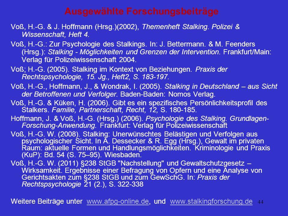 44 Ausgewählte Forschungsbeiträge Voß, H.-G. & J. Hoffmann (Hrsg.)(2002), Themenheft Stalking. Polizei & Wissenschaft, Heft 4. Voß, H.-G.: Zur Psychol