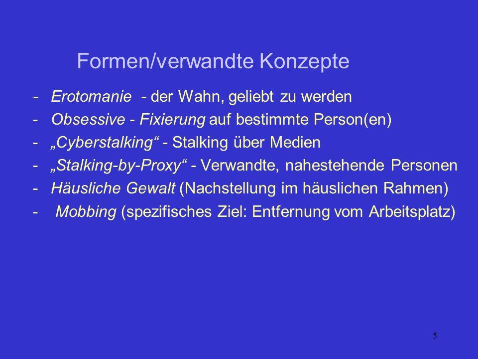 5 -Erotomanie - der Wahn, geliebt zu werden -Obsessive - Fixierung auf bestimmte Person(en) -Cyberstalking - Stalking über Medien -Stalking-by-Proxy -