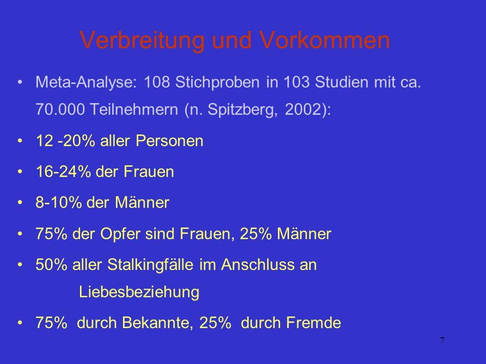 7 Verbreitung und Vorkommen Meta-Analyse: 108 Stichproben in 103 Studien mit ca. 70.000 Teilnehmern (n. Spitzberg, 2002): 12 -20% aller Personen 16-24