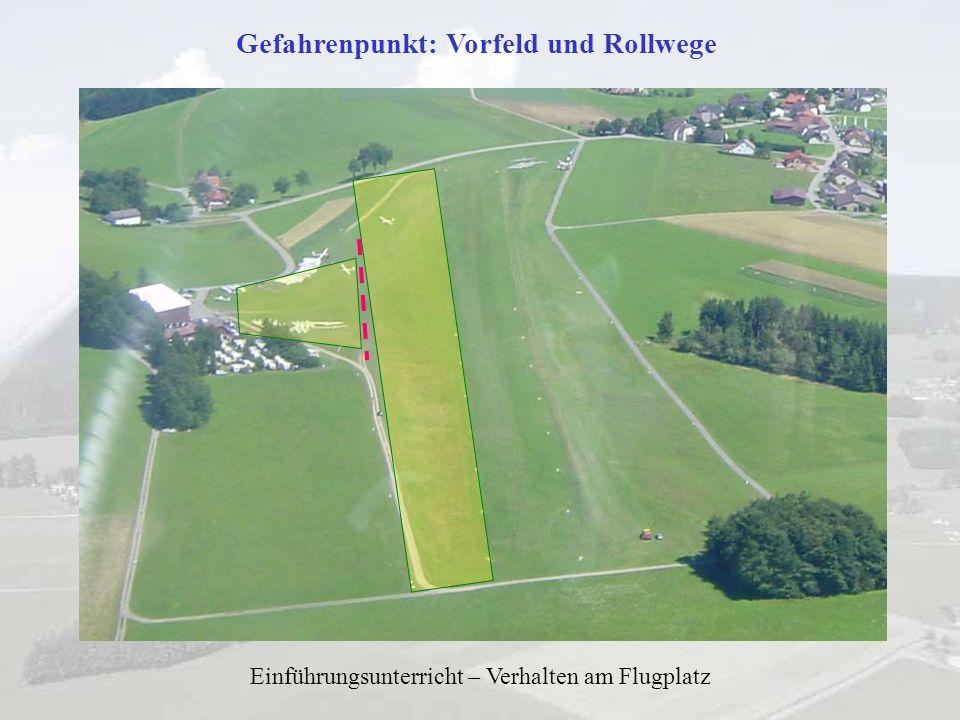 Einführungsunterricht – Verhalten am Flugplatz Gefahrenpunkt: Motorflugzeuge / Motorsegler Drehende Propeller sind lebensgefährlich!.