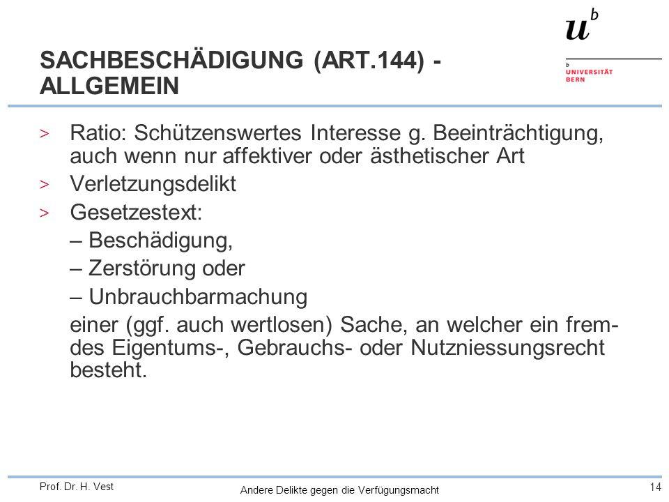 Andere Delikte gegen die Verfügungsmacht 14 Prof. Dr. H. Vest SACHBESCHÄDIGUNG (ART.144) - ALLGEMEIN > Ratio: Schützenswertes Interesse g. Beeinträcht