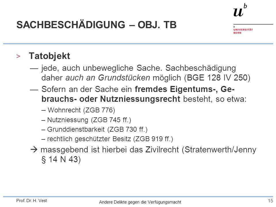 Andere Delikte gegen die Verfügungsmacht 15 Prof. Dr. H. Vest SACHBESCHÄDIGUNG – OBJ. TB > Tatobjekt jede, auch unbewegliche Sache. Sachbeschädigung d