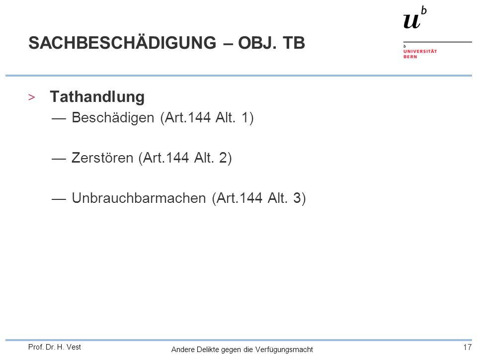 Andere Delikte gegen die Verfügungsmacht 17 Prof. Dr. H. Vest SACHBESCHÄDIGUNG – OBJ. TB > Tathandlung Beschädigen (Art.144 Alt. 1) Zerstören (Art.144
