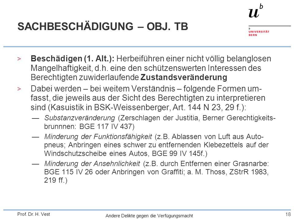 Andere Delikte gegen die Verfügungsmacht 18 Prof. Dr. H. Vest SACHBESCHÄDIGUNG – OBJ. TB > Beschädigen (1. Alt.): Herbeiführen einer nicht völlig bela