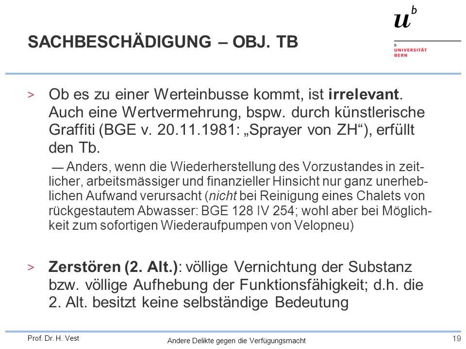 Andere Delikte gegen die Verfügungsmacht 19 Prof. Dr. H. Vest SACHBESCHÄDIGUNG – OBJ. TB > Ob es zu einer Werteinbusse kommt, ist irrelevant. Auch ein