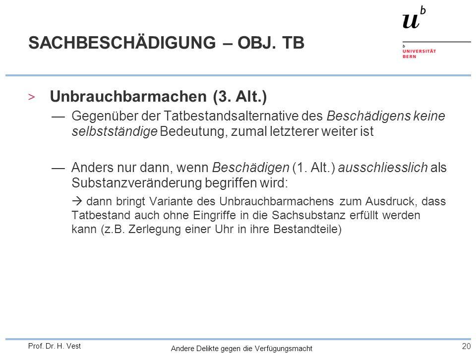 Andere Delikte gegen die Verfügungsmacht 20 Prof. Dr. H. Vest SACHBESCHÄDIGUNG – OBJ. TB > Unbrauchbarmachen (3. Alt.) Gegenüber der Tatbestandsaltern
