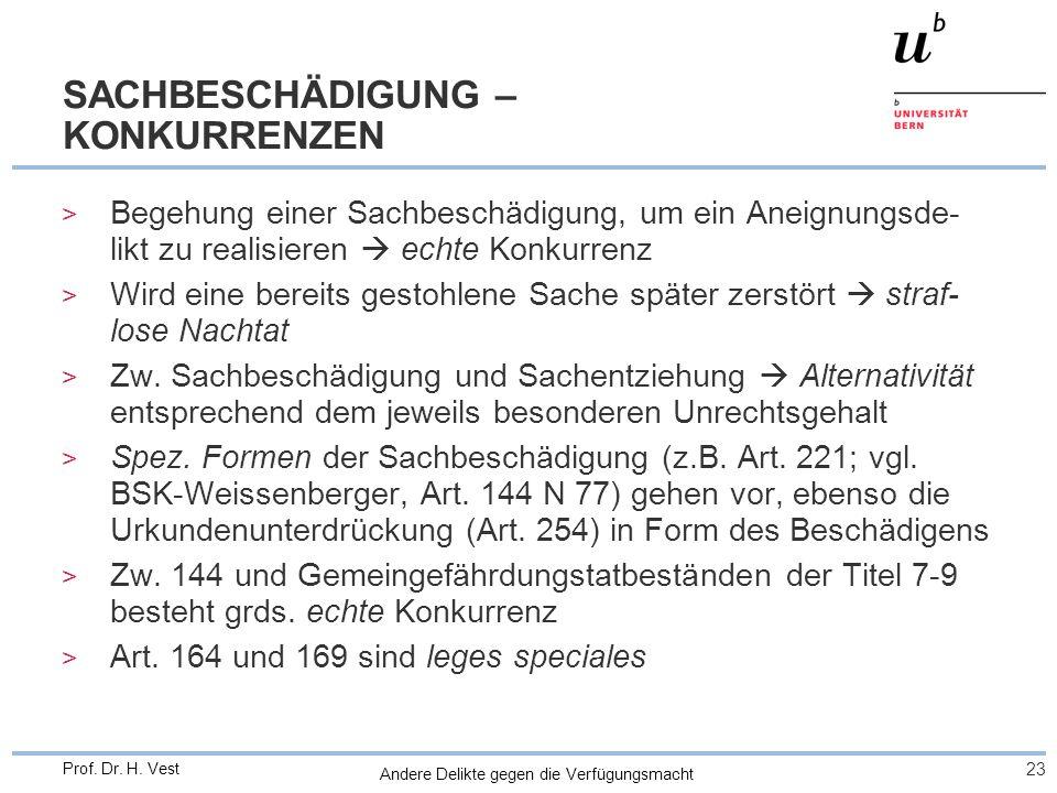 Andere Delikte gegen die Verfügungsmacht 23 Prof. Dr. H. Vest SACHBESCHÄDIGUNG – KONKURRENZEN > Begehung einer Sachbeschädigung, um ein Aneignungsde-