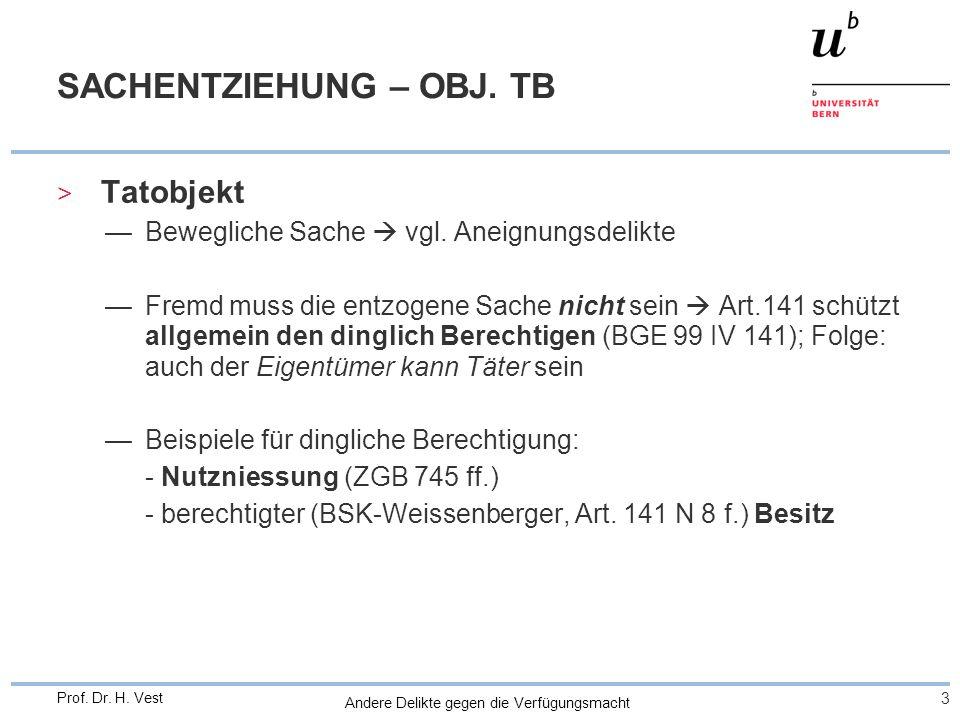 Andere Delikte gegen die Verfügungsmacht 3 Prof. Dr. H. Vest SACHENTZIEHUNG – OBJ. TB > Tatobjekt Bewegliche Sache vgl. Aneignungsdelikte Fremd muss d