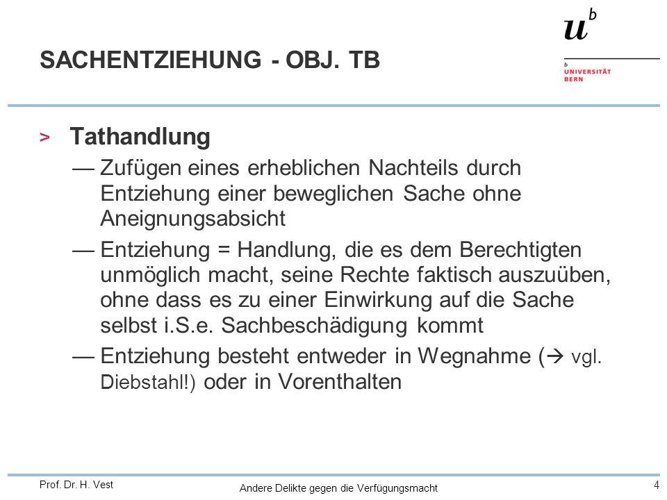 Andere Delikte gegen die Verfügungsmacht 4 Prof. Dr. H. Vest SACHENTZIEHUNG - OBJ. TB > Tathandlung Zufügen eines erheblichen Nachteils durch Entziehu