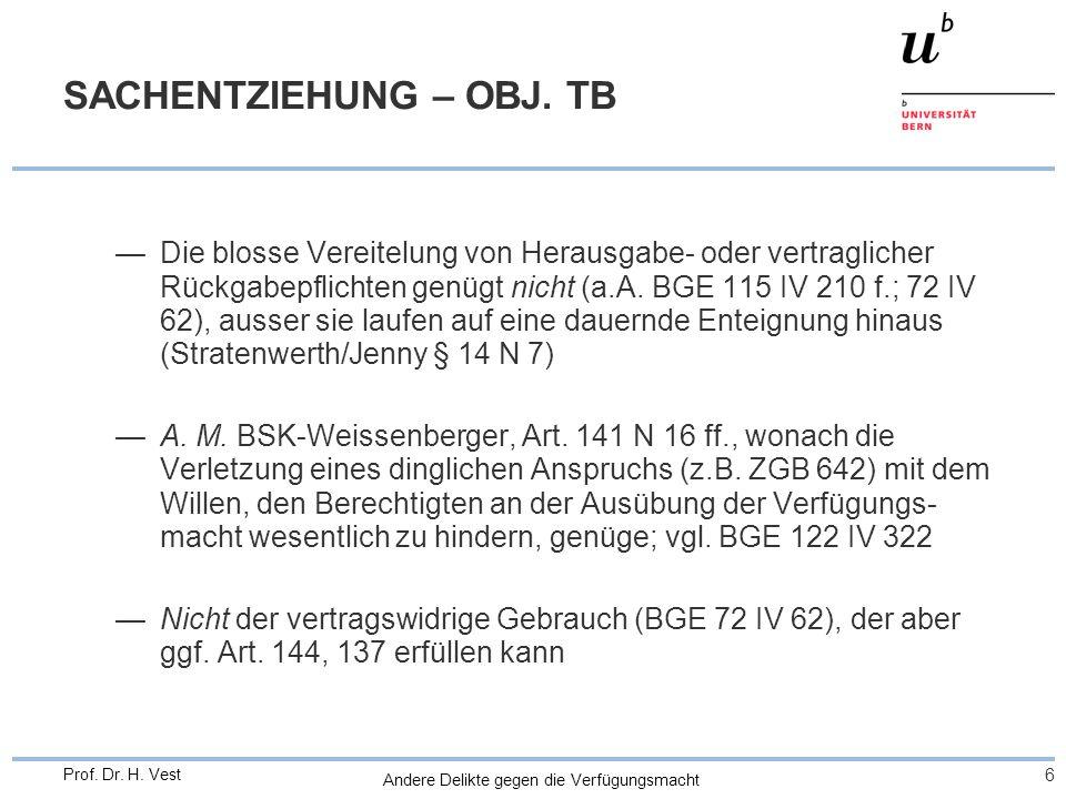 Andere Delikte gegen die Verfügungsmacht 6 Prof. Dr. H. Vest SACHENTZIEHUNG – OBJ. TB Die blosse Vereitelung von Herausgabe- oder vertraglicher Rückga