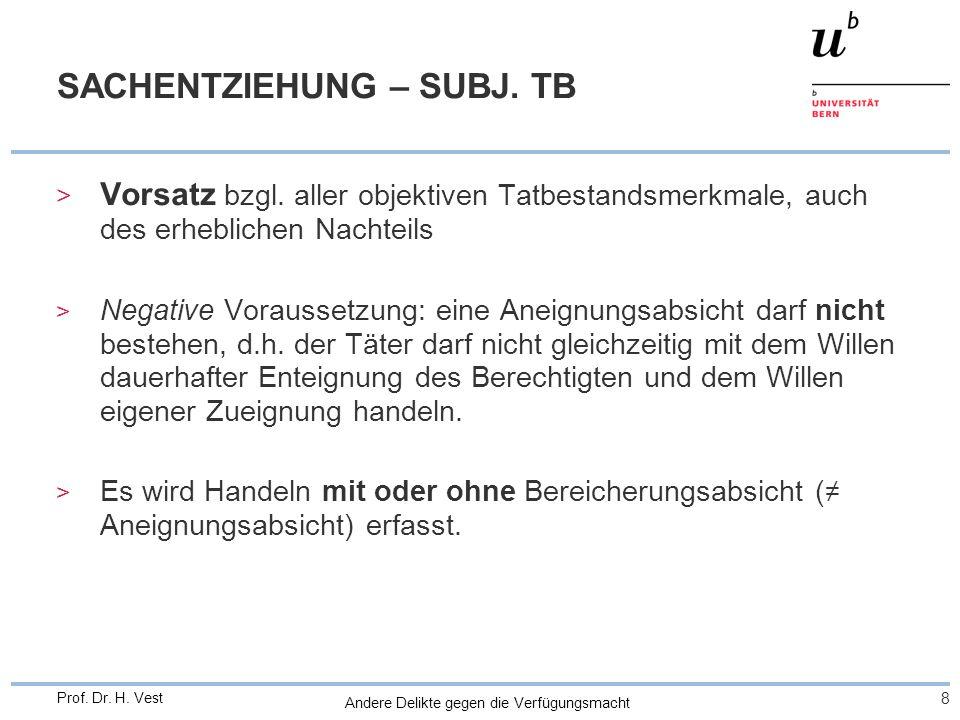 Andere Delikte gegen die Verfügungsmacht 8 Prof. Dr. H. Vest SACHENTZIEHUNG – SUBJ. TB > Vorsatz bzgl. aller objektiven Tatbestandsmerkmale, auch des