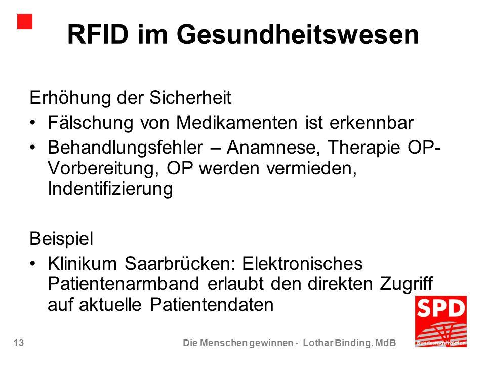13Die Menschen gewinnen - Lothar Binding, MdB RFID im Gesundheitswesen Erhöhung der Sicherheit Fälschung von Medikamenten ist erkennbar Behandlungsfeh