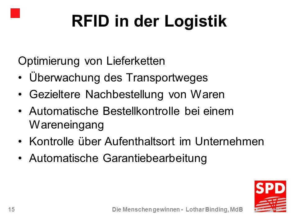 15Die Menschen gewinnen - Lothar Binding, MdB RFID in der Logistik Optimierung von Lieferketten Überwachung des Transportweges Gezieltere Nachbestellu
