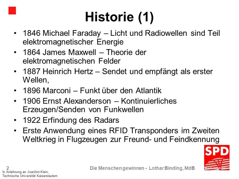 2Die Menschen gewinnen - Lothar Binding, MdB Historie (1) 1846 Michael Faraday – Licht und Radiowellen sind Teil elektromagnetischer Energie 1864 Jame