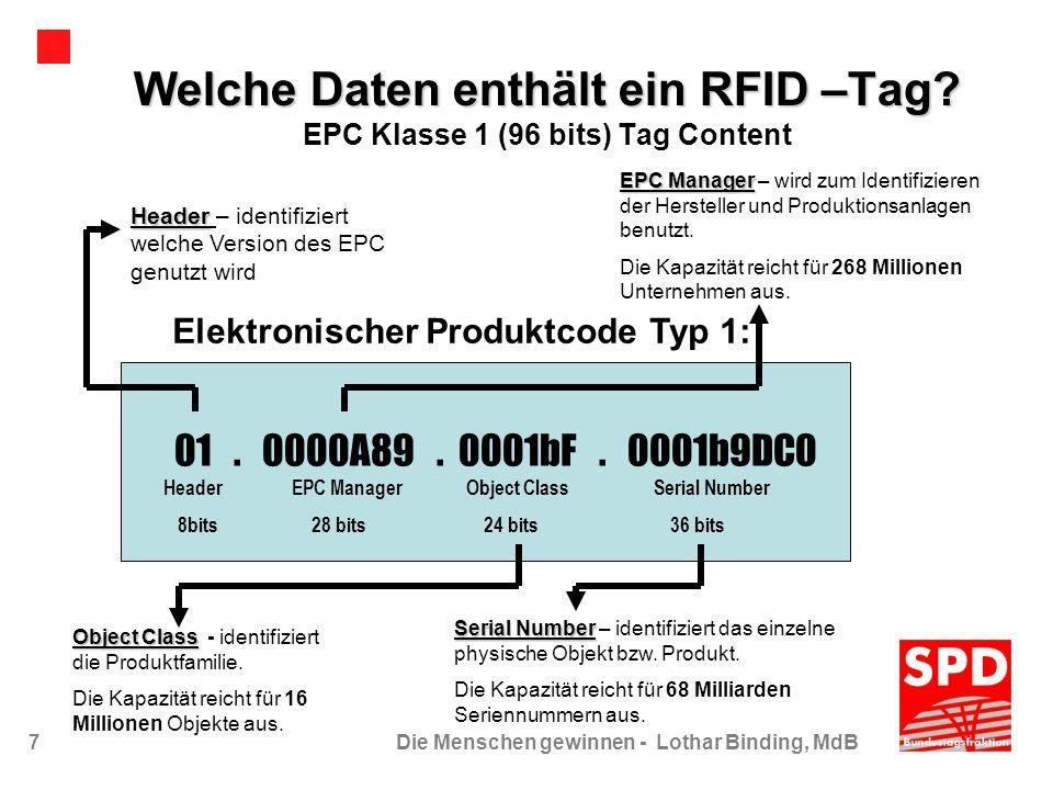 7Die Menschen gewinnen - Lothar Binding, MdB Welche Daten enthält ein RFID –Tag? Welche Daten enthält ein RFID –Tag? EPC Klasse 1 (96 bits) Tag Conten