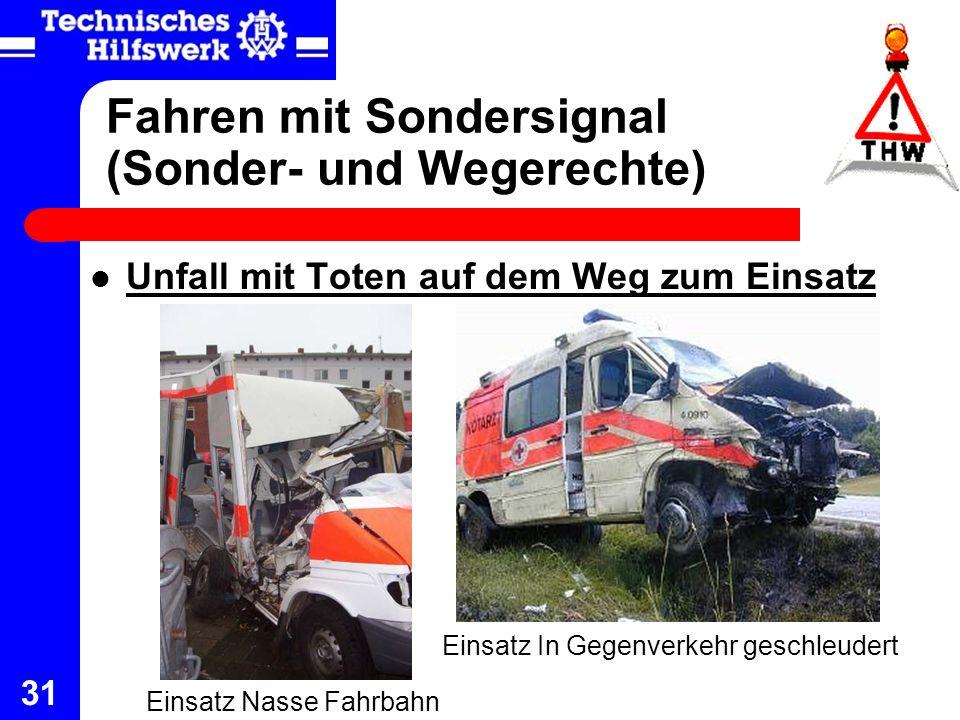 31 Fahren mit Sondersignal (Sonder- und Wegerechte) Unfall mit Toten auf dem Weg zum Einsatz Einsatz Nasse Fahrbahn Einsatz In Gegenverkehr geschleude