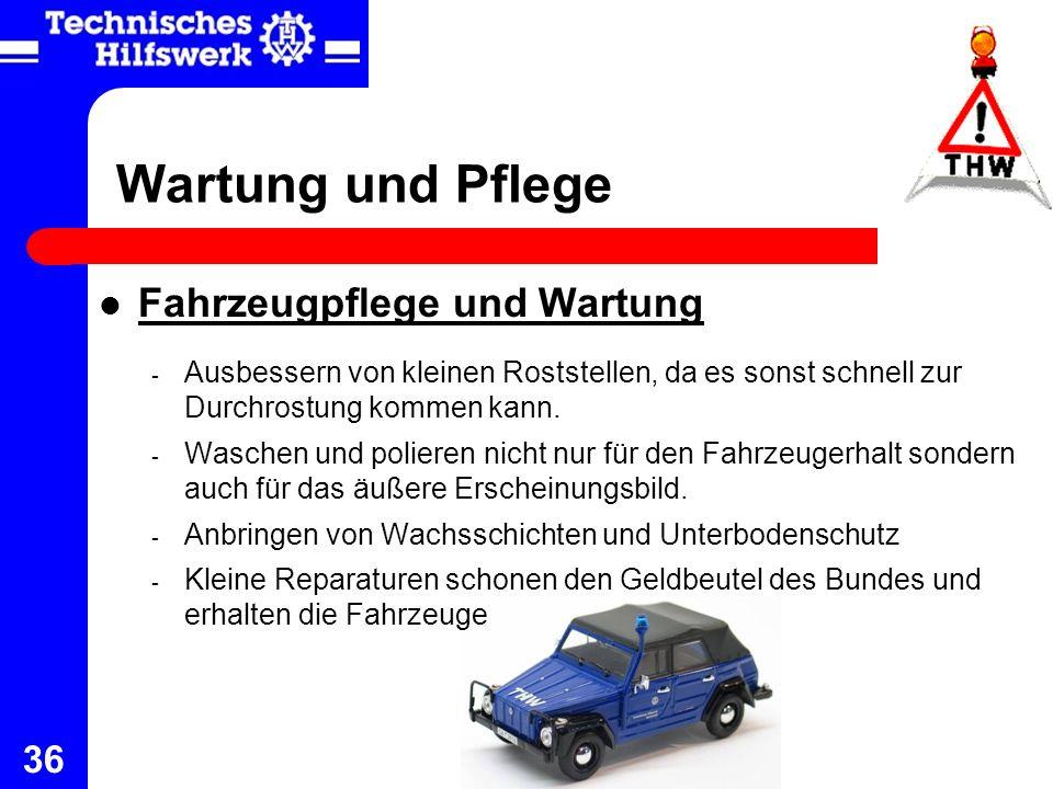36 Wartung und Pflege Fahrzeugpflege und Wartung - Ausbessern von kleinen Roststellen, da es sonst schnell zur Durchrostung kommen kann. - Waschen und