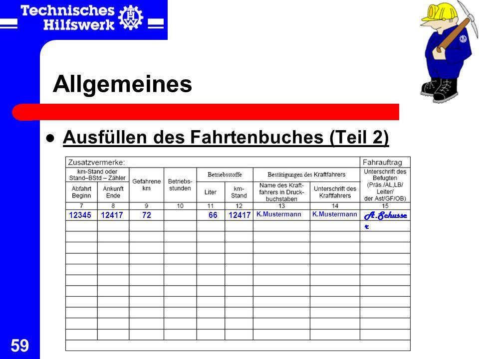 59 Allgemeines Ausfüllen des Fahrtenbuches (Teil 2) 12345 12417726612417 K.Mustermann A.Schusse r K.Mustermann