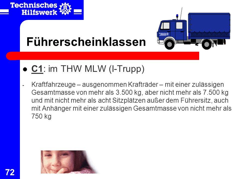 72 Führerscheinklassen C1: im THW MLW (I-Trupp) - Kraftfahrzeuge – ausgenommen Krafträder – mit einer zulässigen Gesamtmasse von mehr als 3.500 kg, ab