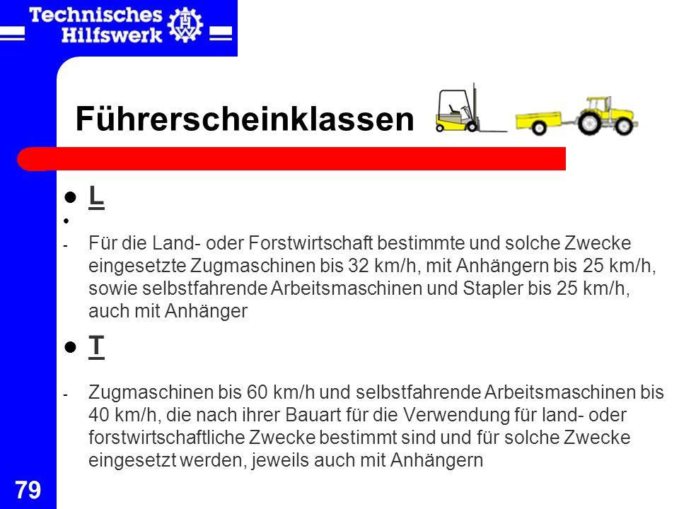 79 Führerscheinklassen L - Für die Land- oder Forstwirtschaft bestimmte und solche Zwecke eingesetzte Zugmaschinen bis 32 km/h, mit Anhängern bis 25 k